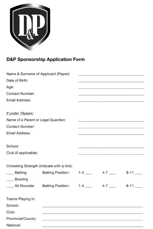 Click Here To Download A Printable Application Form In PDF Format  Application For Sponsorship Template